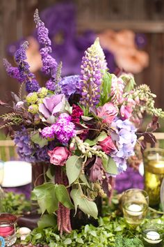 purple centerpiece for weddings