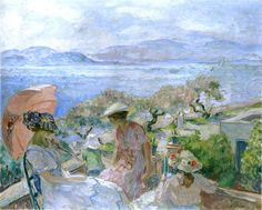 'On the terrace by the sea at St Maxime', Oil On Canvas by Henri Lebasque (1865-1937, France)