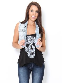 Snake Print #Denim #Vest  With a maxi skirt! Adorable #stylesforless