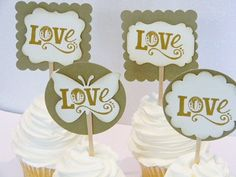 Cupcake Toppers Bridal Shower or Wedding  by MyPrettyPaperGifts, $20.00