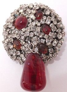 Unusual Vintage Couture Denicola Crystal Rhinestone Red Poured Glass Brooch | eBay