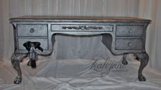 Gorgeous Hammered Silver Aged Pewter Ornate French Executive Writing Desk on Etsy, $1,350.00