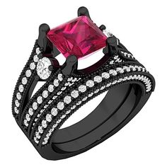Black Rhodium Plated Sterling Silver Ruby & White Diamond Ladies Engagement Ring Set (Size 4) #amazon #affiliate