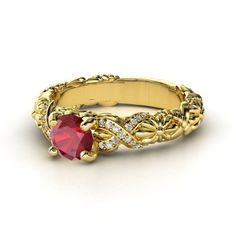 Round Ruby 14K Rose Gold Ring with Diamond & Diamond  - lay_down