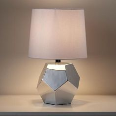 Land of Nod Gold or Silver Geometric Lamp Base in Table Lamps