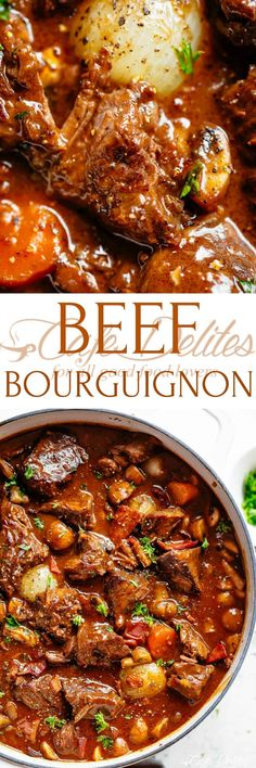 Beef Bourguignon (Julia Child Recipe) - Cafe Delites I am going to add potatoes and green beans (per hubby request) cut back on wine to 1 cups and use broth for remaining Meat Recipes, Dinner Recipes, Cooking Recipes, Cooking Time, Chicken Recipes, Beef Dishes, Food Dishes, Pressure Cooker Recipes, Kids Meals
