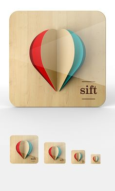 """ios App Icon - by Omar Puig - """"Some proposal iOS icon design for a discovery app I worked on coded named 'Sift'"""" hot air balloon Web Design, App Icon Design, Logo Design, Ui Design Inspiration, Typography Design, Symbol Design, Identity Design, Design Responsive, Ios App Icon"""