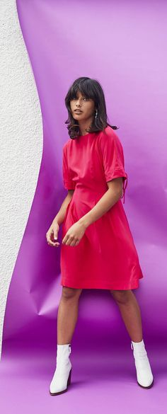 Go bold yet pretty in the bright cerise tone of the Hybrid Silk Skater Dress. Oliver Bonas, Dress For You, Skater Dress, High Waisted Skirt, Bright, Silk, Formal, Pretty, Casual