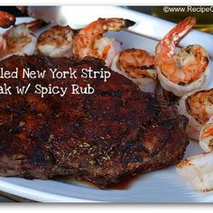 Grilled New York Strip Steak with Spicy Rub Recipe Main Dishes with paprika, garlic powder, chili powder, dried oregano, kosher salt, cayenne pepper, ground black pepper, new york strip steaks
