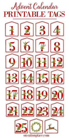 Christmas Alphabet Printables - On Sutton Place DIY Advent Calendar Printable Red Number Tags Christmas Activities, Christmas Printables, Christmas Projects, Christmas Holidays, Christmas Decorations, Christmas Place, Christmas Tables, Nordic Christmas, Holiday Decor