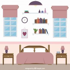 Cute bedroom Free Vector