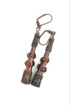 Χάλκινα σκουλαρίκια με ανάγλυφα σχέδια - Κόκκινο