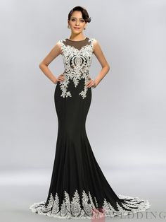 Trumpet-Mermaid Sleeveless Floor-Length Appliques Scoop Evening Dresses With Chapel Train