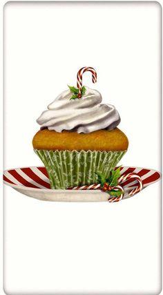 Candy Cane Christmas Cupcake 100% Cotton Flour Sack Dish Towel Tea Towel