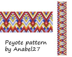 Colorful peyote pattern - bracelet pattern - bead pattern #25- even count peyote