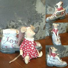 Handmade little mouse in a hand decorated gintage shoe ❤ . Christmas Deco, Shoe, Handmade, Decor, Christmas Decor, Decorating, Zapatos, Shoemaking, Inredning