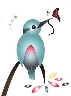 Incorporating three of the symbols she is well known for - hummingbirds, kotare and butterflies, Ema Frost has transformed a Giclee Fine Art print into a one of Nz Art, Kingfisher, Hummingbirds, New Zealand, Frost, Butterflies, Illustrator, Fine Art Prints, Symbols