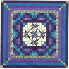 Easy Quilt Kit/Nine Patch Starlily Purple/Aquas/King/Precut Fabrics Ready ToSew!