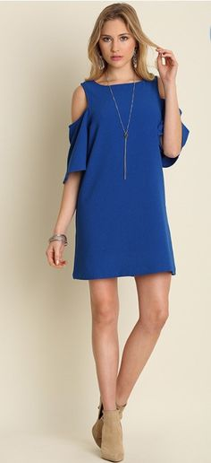 Cobalt Blue Cold Shoulder Shift Dress