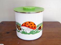 Vintage / Retro Merry Mushroom Enamel Canister | Trade Me