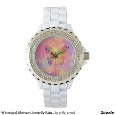 Whimsical Abstract Butterfly Rainbow Watercolor Wrist Watch