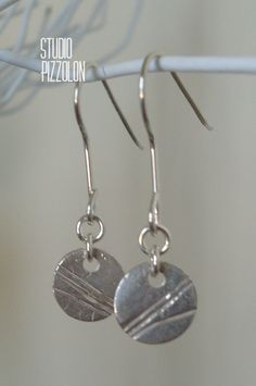 FINE SILVER, PMC SILVER, BOTANICAL DISC EARRINGS, STERLING SILVER by STUDIO PIZZOLON, $31.95 USD