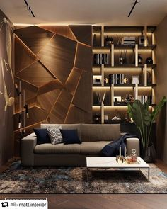 This backlit wood wall design is stunning! What a unique accent wall. What are your thoughts on this design?⁠ Tag a friend who would like this in their home! Interior Design Living Room, Living Room Designs, Living Room Decor, Interior Decorating, Bedroom Decor, Wall Decor, Home Room Design, House Design, Wall Design