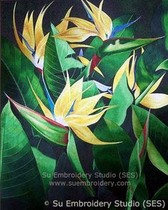 Bird of Paradise Flower, all hand embroidered with fine silk threads on silk from Su Embroidery Studio, Suzhou China