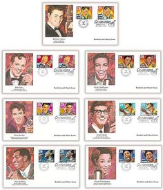 2724 - 2730 & 2731 - 2737 / Rock & Roll / Rhythm & Blues Musicians Bklt and Sht Issue Combo Set of 7 Fleetwood 1993 FDCs Holly Pictures, Ritchie Valens, Bill Haley, Otis Redding, Buddy Holly, First Day Covers, Rhythm And Blues, Elvis Presley, Rock And Roll