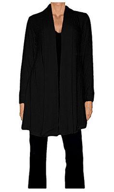 Ooh La La Jersey Knit Shawl Collar Flared Above the Knee Cardigan (XX-large 40-41, Black)
