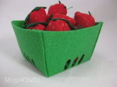 Felt Food Strawberries with Free Berry Container Template