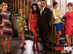 Mad Men fashion - Betty Francis (January Jones, left), Sally Draper (Kiernan Shipka), Megan Draper (Jessica Pare), Don Draper (Jon Hamm), Peggy Olson (Elisabeth Moss) and Joan Harris (Christina Hendricks)
