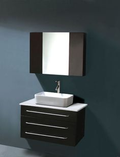 Black Vanity with blue/green walls... love it!
