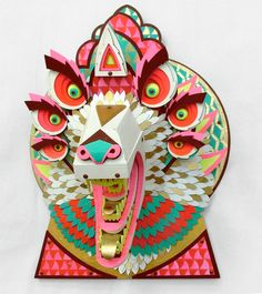 Amazing Wood Animal Sculptures by Artist AJ Fosik Kirigami, Arte Punk, Instalation Art, Papier Diy, Arte Tribal, Paper Mask, Animal Heads, Photo Projects, Animal Sculptures
