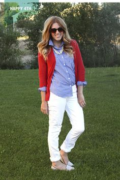 white pants, gingham shirt, red cardy, pearls, white loafers, sunnies