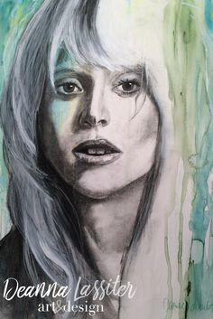 Lady Gaga watercolor and charcoal portrait mixed media