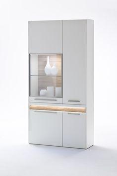 Vitrine Velvet III inklusive Fronteffekt LED-Beleuchtung Weiß Matt / Struktur Eiche Modernes Design gepaart mit dem richtigen Materialmix schaffen  ein einzigartiges Wohnerlebnis Passend zur...