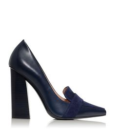 Tory Burch oxford pumps in navy leather.