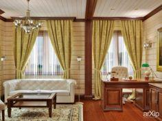 Дизайн кабинета в деревянном доме: зd визуализация, интерьер #3dvisualization #interior arXip.com