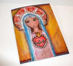Mary and her Sacred Heart  Greeting Card 5 x 7 by FlorLarios, $5.00