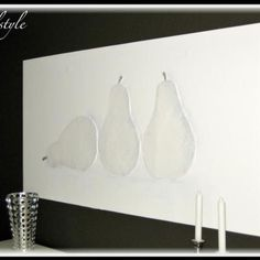 DIY Art - White on white. Use drywall mud to build up object. Paint all over.