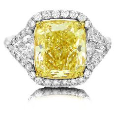 Allurez 5.05ct Cushion Cut Center and 1.85ct Side Platinum EGL... ($71,115) ❤ liked on Polyvore featuring jewelry, rings, silver, canary diamond engagement rings, canary yellow diamond ring, cushion cut ring, platinum jewelry and valentines day jewelry