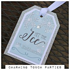 Ice Skating Birthday Party Favor Tags.  Hit The Ice, set of 18, fully assembled and customizable.  Blue and silver. by CharmingTouchParties on Etsy
