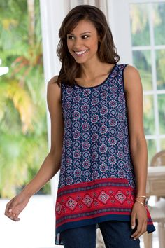 Border Print A-Line Tank: Classic Women's Clothing from #ChadwicksofBoston $34.99