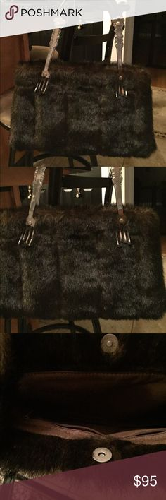 Absolutely stunning handbag!!! Beautifully designed with fork handles! Very rich faux ranch mink fur with lots of room inside measures 9x14 THIS IS A MUST HAVE FOR FALL WARDROBE ..... isabellas journey Bags Satchels
