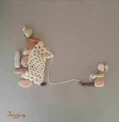 40x40 cm Helping grandmother to knit Pebble Art by IOULIAArt