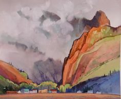 """""""Soft Morning, Late May, View of Creede"""", watercolor by Stephen Quiller"""