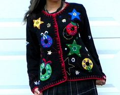 Vintage Tacky Christmas Sweater Black Red Beaded Applique Wreath Star Button Up Ugly Christmas Sweater Cardigan S/M