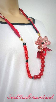 Sari necklace silk ribbon long necklace silk strips red coral red agate faceted beads,Spring gift,handmade red flower gift for her,OOAK Tassel Necklace, Crochet Necklace, Red Agate, Sari Silk, Etsy Christmas, Red Coral, Classy Women, Silk Ribbon, Lampwork Beads