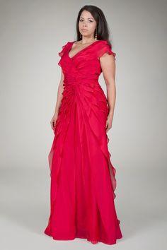 Tiered Chiffon Gown in Claret - Plus Size Evening Shop | Tadashi Shoji
